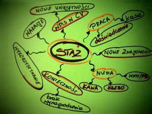 """Mapa myśli - skojarzenia ze słowem """"staż"""": praca (doświadczenie, kasa), nowe znajomości, nuda (kawa, ksero, www/fb), konieczność (brak wynagrodzenia), wykorzystywanie, wakacje, wpis w CV (nowe umiejętności)"""