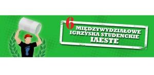 Grafika - na zielonym tle po lewej postać podnosząca beczkę, po prawej napis 6 Międzywydziałowe Igrzyska Studenckie IAESTE