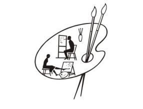 grafika - paleta malarska z dwoma pędzlami, a na niej wizerunek dwóch osób siedzących przed sztalugami: jedna maluje ustami, druga nogami
