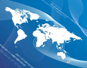 Mapa świata na niebieskim tle -