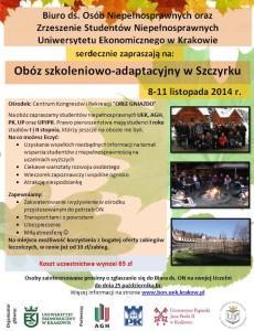 Zdjęcie plakatu obozu w Szczyrku 2014