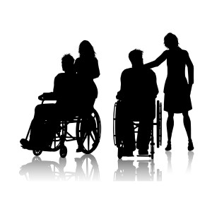 Men in wheelchairs with women