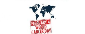 Grafika: zarys mapy świata i napis february 4 world cancer day