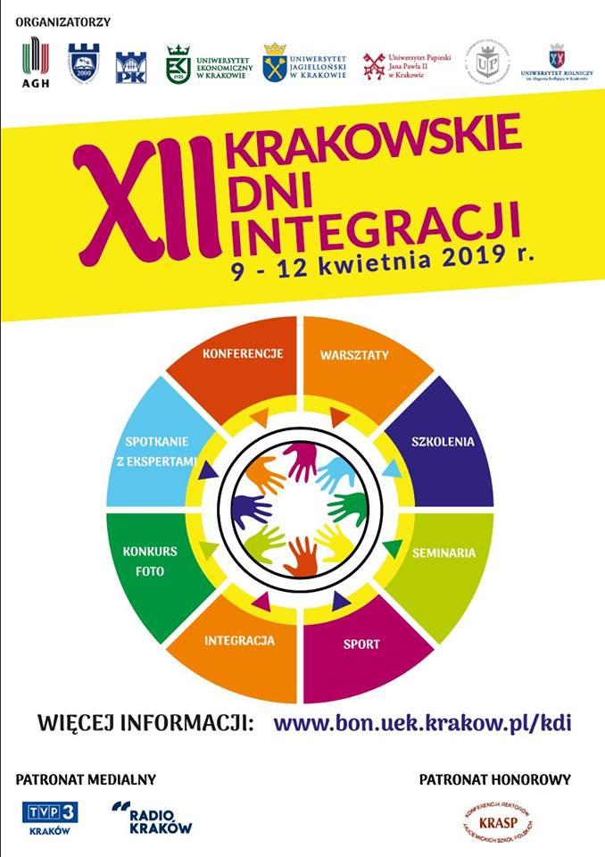 Plakat promujacy Krakowskie Dni Integracji. Na środku koło z wyszczególnymi częściami z tytułami sport, warsztaty, szkolenia, integracaja, konkurs foto